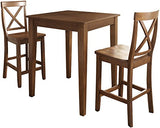Crosley Furniture 3-Piece Pub Set with Tapered Leg Table and X-Back Stools - Classic Cherry