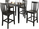 Crosley Furniture 5-Piece Pub Set with Tapered Leg Table and Schoolhouse Stools - Black