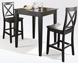 Crosley Furniture 3-Piece Pub Set with Tapered Leg Table and X-Back Stools - Black