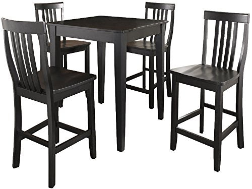 Pub Set Tapered Leg Table Schoolhouse Stools Black Piece 3098 Product Photo