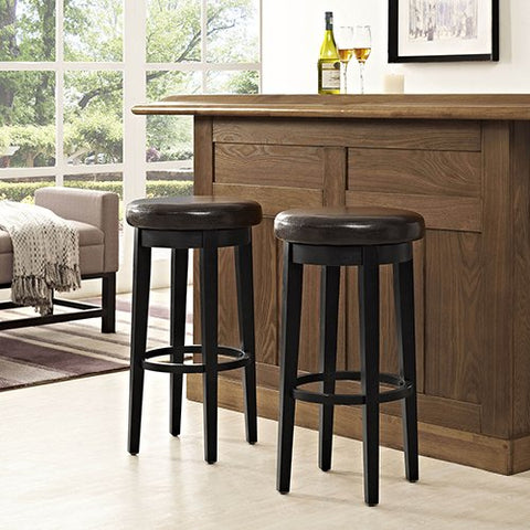 Crosley Furniture Swivel Bar Stool in Black with Brown Cushion - Set of 2