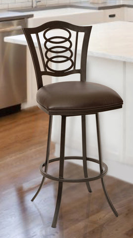 "Armen Living LCES30BABR Essex 30"" Transitional Barstool In Coffee  and Auburn Bay Metal"