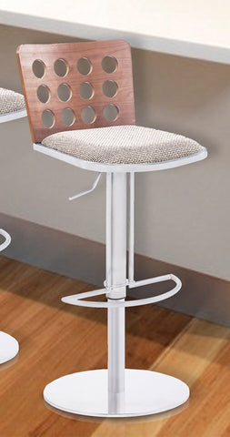 Armen Living LCELBAF23B201 Elton Modern Barstool In Brown Fabric with Walnut Veneer Back and Stainless Steel
