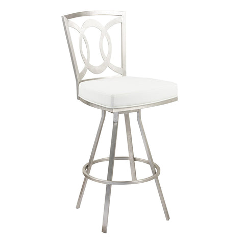 "Armen Living LCDR26SWBAWHB201 Drake 26"" Contemporary Swivel Barstool In White  and Stainless Steel"