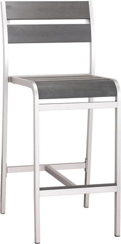 Zuo Modern 703186 Megapolis Bar Armless Chair Color Brushed Aluminum Brushed Aluminum Finish - Set of 2 - BarstoolDirect.com - 1