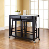 Crosley Furniture Portable Kitchen Cart with Stainless Steel Top and 24-inch Upholstered Saddle Stools - Black