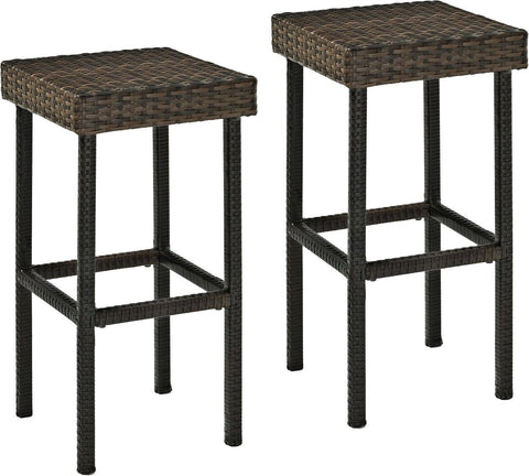 Crosley Furniture Palm Harbor Outdoor Wicker 29-inch Bar Stools - Brown (Set of 2)