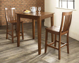 Crosley Furniture 3-Piece Pub Set with Tapered Leg Table and Schoolhouse Stools - Classic Cherry
