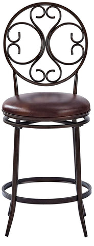 Crosley Furniture CF520426AB-BR Arbor Swivel Counter Stool, 26-inch - Aged Bronze with Brown Cushion