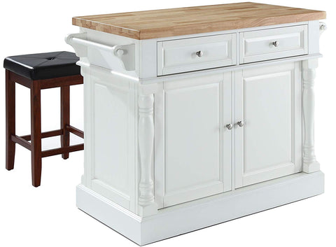 Crosley Furniture Kitchen Island with Butcher Block Top and 24-inch Upholstered Square Seat Stools - White/Black