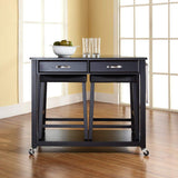 Crosley Furniture Portable Kitchen Cart with Solid Black Granite Top and 24-inch Upholstered Saddle Stools - Black