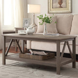 Linon 86151GRY01U Titian Rustic Gray Coffee Table