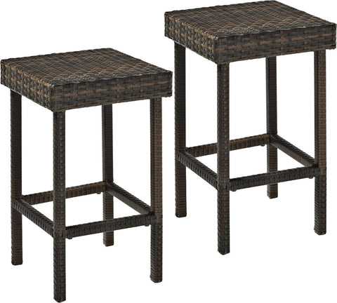 Crosley Furniture Palm Harbor Outdoor Wicker 24-inch Stools - Brown (Set of 2)