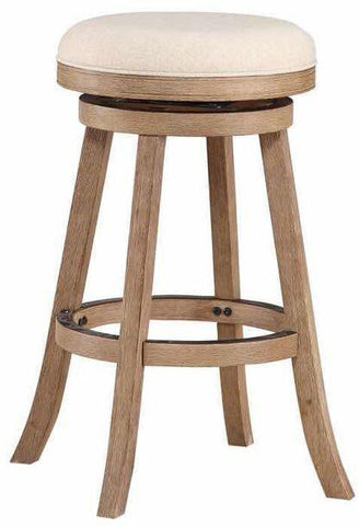"Boraam 76129 29"" Fenton Barstool, Driftwood Gray Wire-brush and Ivory - BarstoolDirect.com"