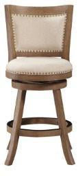 "Boraam 76524 24"" Melrose Counter Stool, Driftwood Gray Wire-brush and Ivory - BarstoolDirect.com"