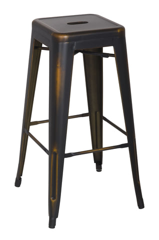 Chintaly 8015-BS-ATQ-GLD Vintage Galanized Steel Bar Stool ( Set of 4 )