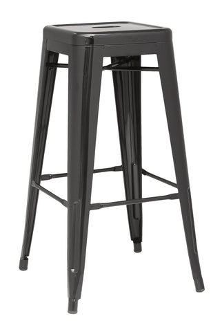 Chintaly 8015-BS-BLK Galvanized Steel Bar Stool ( Set of 4 )