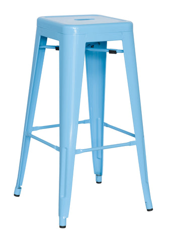 Chintaly 8015-BS-BLU Galvanized Steel Bar Stool ( Set of 4 )