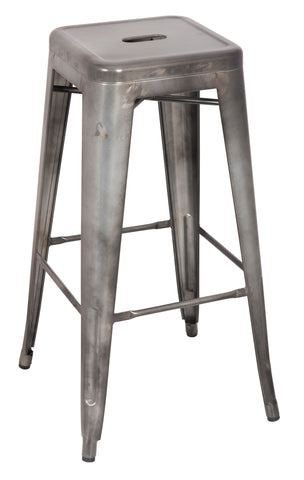 Chintaly 8015-BS-GUN Galvanized Steel Bar Stool ( Set of 4 )