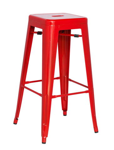 Chintaly 8015-BS-RED Galvanized Steel Bar Stool ( Set of 4 )