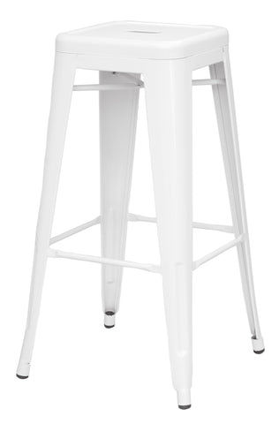Chintaly 8015-BS-WHT Galvanized Steel Bar Stool ( Set of 4 )