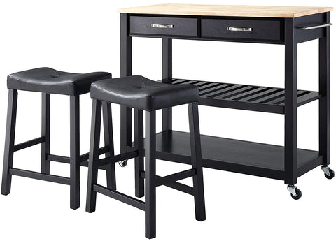 Crosley Furniture Portable Kitchen Cart with Natural Wood Top and 24-inch Upholstered Saddle Stools - Black