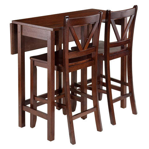 Winsome Wood 94355 Lynnwood 3-Pc Drop Leaf Table with 2 Counter V-Back Stools - BarstoolDirect.com - 1