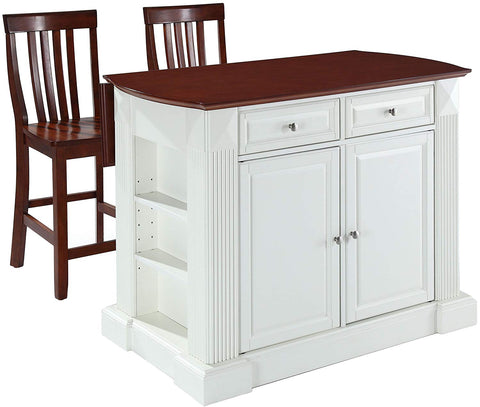 Crosley Furniture Drop Leaf Kitchen Island/Breakfast Bar with 24-inch Schoolhouse Stools - White/Classic Cherry