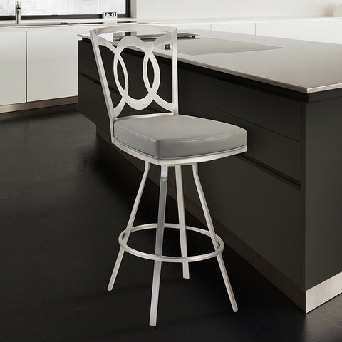 "Armen Living LCDR30SWBAGRB201 Drake 30"" Contemporary Swivel Barstool In Gray  and Stainless Steel"