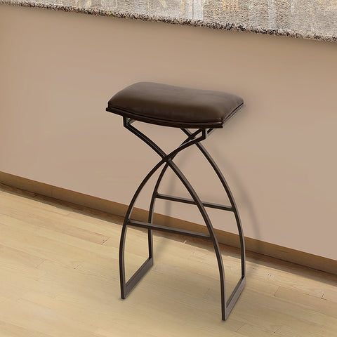 "Armen Living LCHA26BABR Harper 26"" Modern Barstool In Coffee  and Auburn Bay Metal"