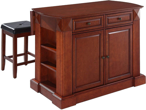 Crosley Furniture Drop Leaf Kitchen Island/Breakfast Bar with 24-inch Upholstered Square Seat Stools - Classic Cherry