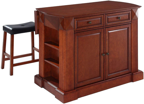 Crosley Furniture Drop Leaf Kitchen Island/Breakfast Bar with 24-inch Upholstered Saddle Stools - Classic Cherry