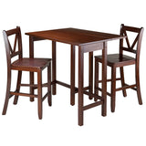 Winsome Wood 94355 Lynnwood 3-Pc Drop Leaf Table with 2 Counter V-Back Stools - BarstoolDirect.com - 2