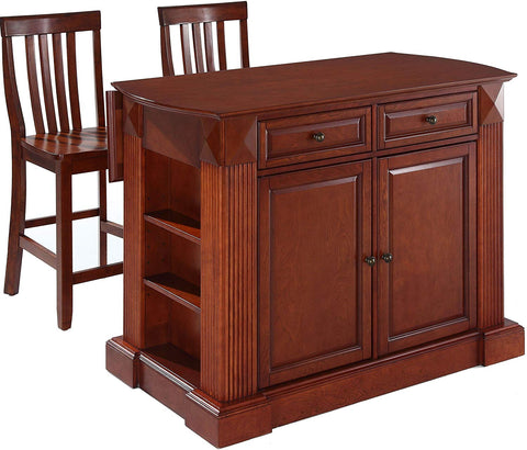 Crosley Furniture Drop Leaf Kitchen Island/Breakfast Bar with 24-inch Schoolhouse Stools - Classic Cherry