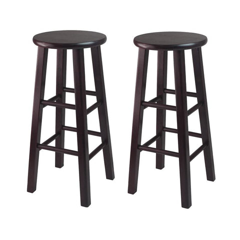 "Winsome Wood 92260 Set of 2, 30"" Bar Stool, Square Legs, Espresso - BarstoolDirect.com"
