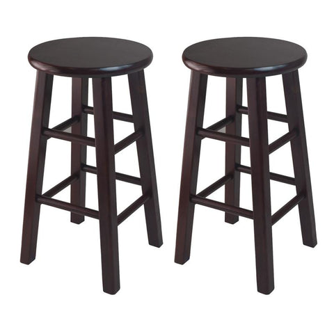 "Winsome Wood 92264 Set of 2, 24"" Counter Stool, Square Legs, Espresso - BarstoolDirect.com"