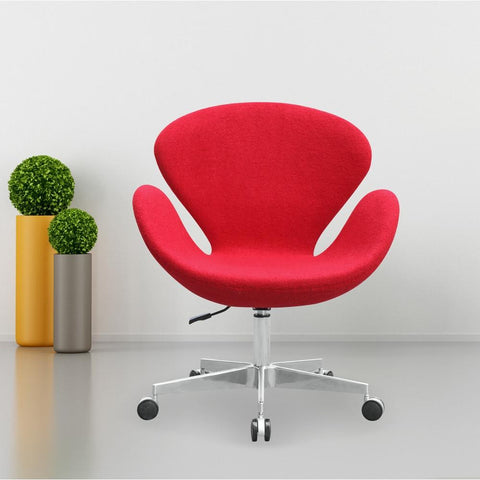 Fine Mod Imports FMI9259-red Swan Chair Fabric with Casters, Red - Peazz.com - 7
