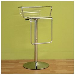 Wholesale Interiors BS-078-clear Dessa Chrome Adjustable Barstool - Each