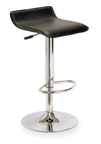 Winsome Wood 93129 Single Airlift Swivel Stool with Black Faux Leather Seat - BarstoolDirect.com - 2