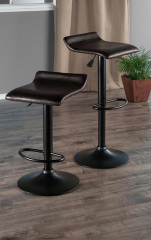 Winsome Wood 93232 Paris Set of 2 Airlift Adjustable Swivel Stool with PU Leather Seat and Black Metal Base - BarstoolDirect.com - 2