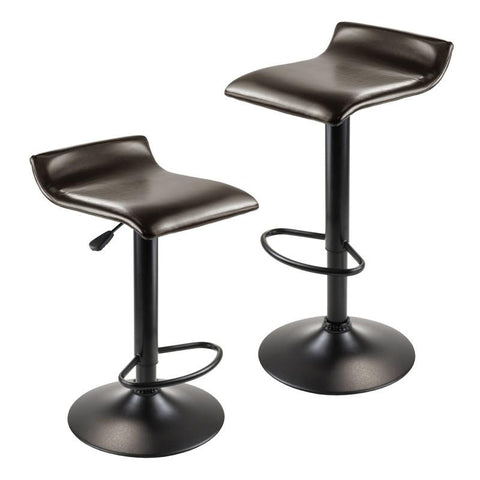 Winsome Wood 93232 Paris Set of 2 Airlift Adjustable Swivel Stool with PU Leather Seat and Black Metal Base - BarstoolDirect.com - 1