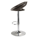 Winsome Wood 93333 Ian Airlift Stool, Curved Open back, PU Leather Seat, Chrome Metal Post and Base - BarstoolDirect.com - 2