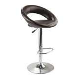 Winsome Wood 93333 Ian Airlift Stool, Curved Open back, PU Leather Seat, Chrome Metal Post and Base - BarstoolDirect.com - 1