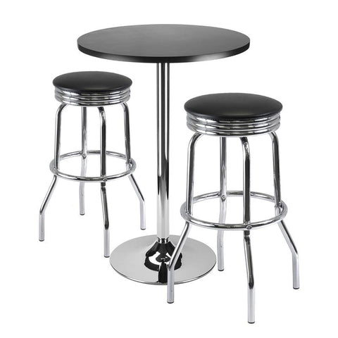 "Winsome Wood 93362 Summit 3-Pc Bar Table Set, 24"" Table and 2 Stools - BarstoolDirect.com"