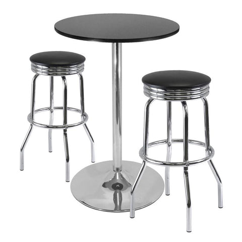 "Winsome Wood 93380 Summit 3-Pc Pub Table Set, 28"" Table and 2 Stools - BarstoolDirect.com"