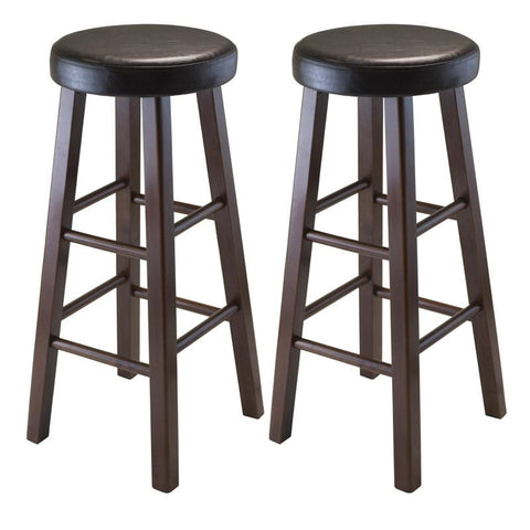 Winsome Wood 94031 Marta Set of 2 Round Bar Stool, PU Leather Cushion Seat, Square Legs, Assembled - BarstoolDirect.com