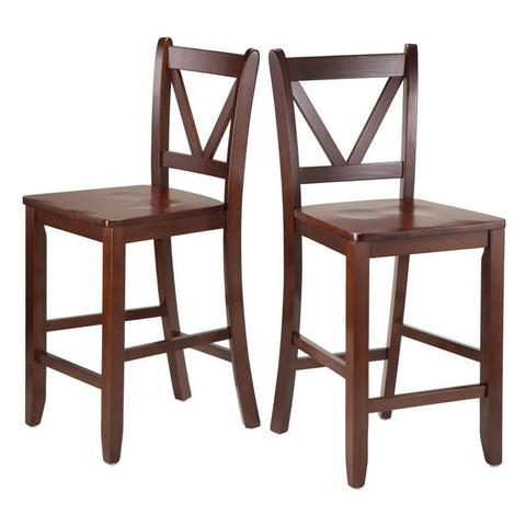 "Winsome Wood 94253 Victor 2-pc 24"" V Back Counter Stools - BarstoolDirect.com"