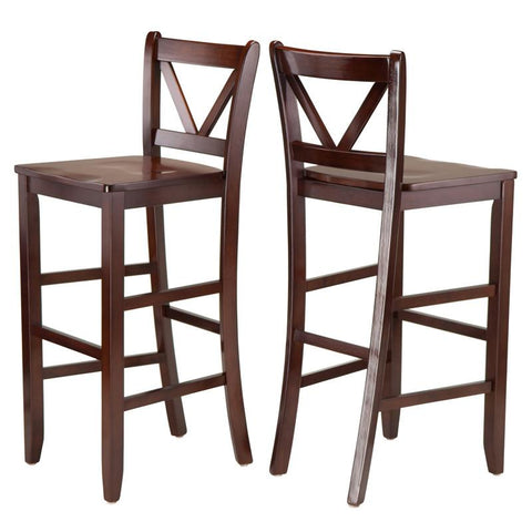 "Winsome Wood 94259 Victor 2-pc 29"" V Back Bar Stools - BarstoolDirect.com - 1"
