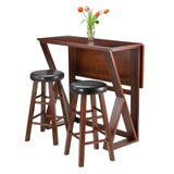 "Winsome Wood 94302 Harrington 3-Pc Drop Leaf High Table, 2-24"" Cushion Round Seat Stools - BarstoolDirect.com - 2"