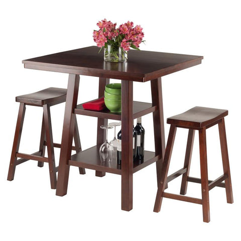 Winsome Wood 94308 Orlando 3-Pc Set High Table, 2 Shelves w/ 2 Saddle Seat Stools - BarstoolDirect.com - 4